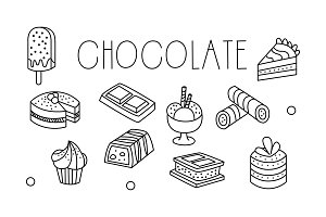 Vector set of chocolate desserts in