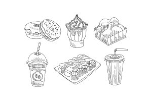 Vector set of hand drawn fast food