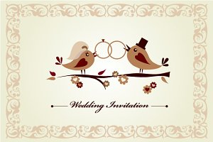 Set of 3 vector Wedding cards