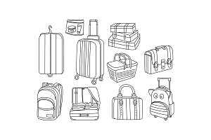 Vector set of hand drawn bags and