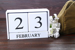 White wooden perpetual calendar with