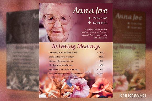 funeral plan flyer template flyer templates on creative market. Black Bedroom Furniture Sets. Home Design Ideas