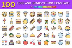 100 Food and Drinks Icons Pack