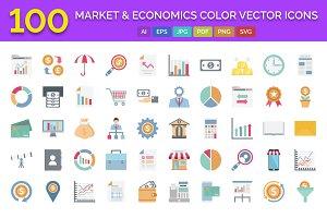 100 Market & Economics Icons Pack