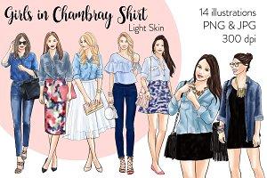 Girls in Chambray Shirt - Light Skin