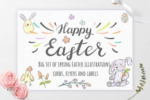 Easter illustrations, cards & labels