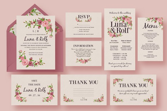 Floral Wedding Invitation Suite Invitation Templates Creative – Floral Wedding Invitations
