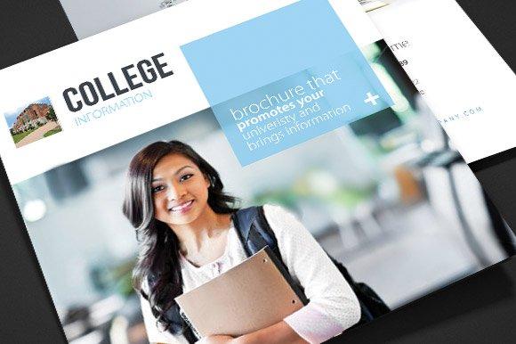 College School Trifold Brochure Brochure Templates on Creative – College Brochure