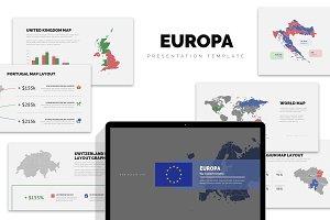 Europa : Europe Area Map Powerpoint
