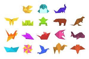 Animals origami set, geometric