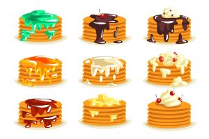 Various kinds of pancakes with
