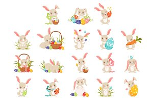 Cute cartoon bunnies holding