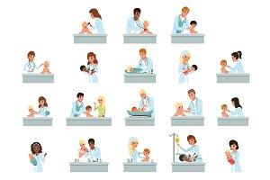 Pediatrician doctors doing medical