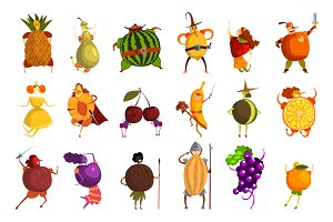 Funny fruits cartoon characters set