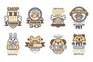 Pet store logo set, premium shop