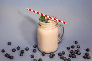 Blueberry smoothie with blueberry, m