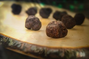 mushrooms black truffle on a blurred