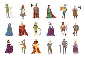 Medieval people characters set