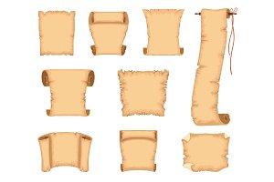 Ancient paper scrolls set, ancient