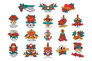 Colorfull tattoos in vintage style