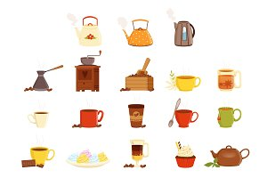 Tea set, various kitchen utensils