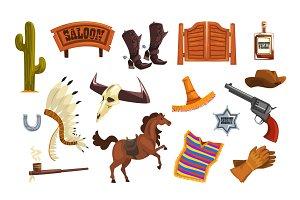 Wild west elements set, cowboys