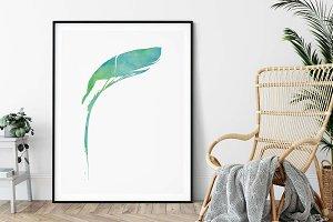 Green Tropical Palm, Printable Wall