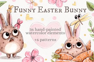 Funny Easter Bunny set +6 patterns