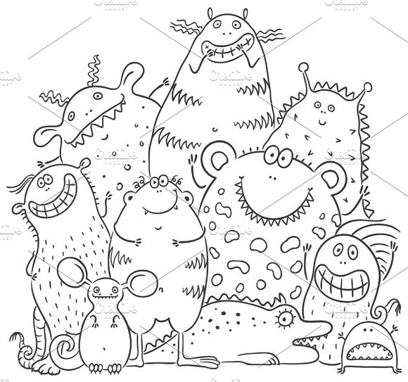 Group of Cartoon Colorful Monsters in Illustrations - product preview 1