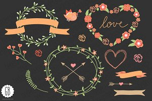 Love wreaths roses heart clip art