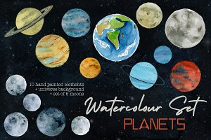 Planets and Moons Watercolor Set