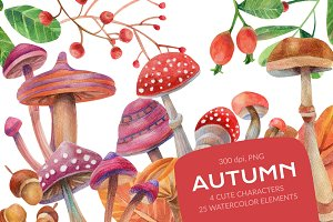 Autumn watercolor collection