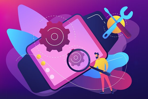 Mobile device repair concept vector