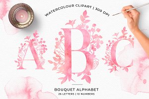 Watercolour Floral Alphabet Clipart