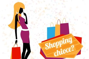 Vector young woman shopping