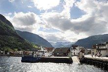 Small village in Norvegian fjords