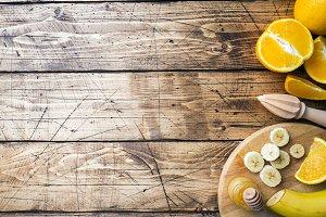 Pieces of fresh orange juice