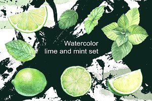 Lime and mint. Watercolor set.