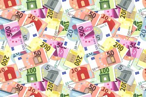 Bright different euro banknotes