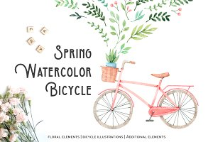 Spring watercolor bicycle