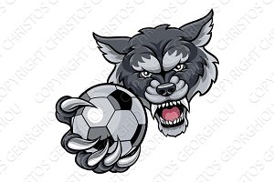 Wolf Holding Soccer Football Ball