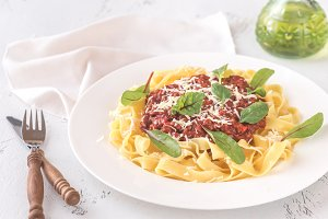 Portion of bolognese pasta