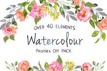 Watercolor Peonies DIY Pack
