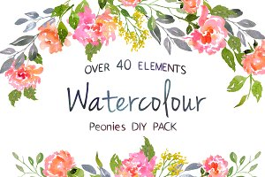 Watercolor Peonies DIY Pack