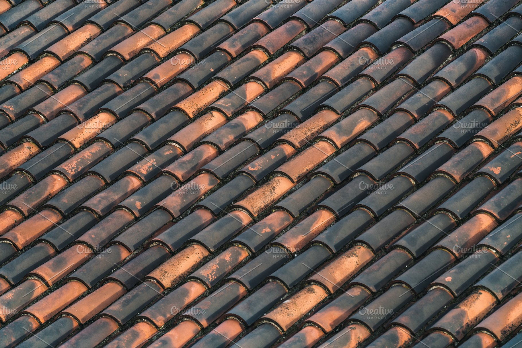 Traditional terracotta roof tiles