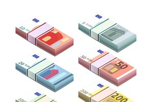 Euro banknotes in isometric stacks