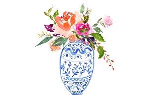 Watercolour Bouquet in Vase - No.1