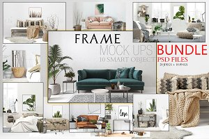 FRAME MOCKUPS BUNDLE, 10 SMART PSD