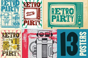 Retro Party grunge posters.