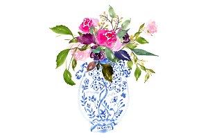 Watercolour Bouquet in Vase - No. 2